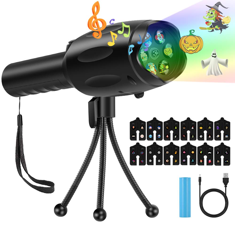 Handheld Projector Flashight 2019 Upgraded Indoor Kids Projection Lights with 12 Changeable Pattern Slides Kids' Music Projector Flashlight for Xmas Birthday Party Children's Day Battery Included