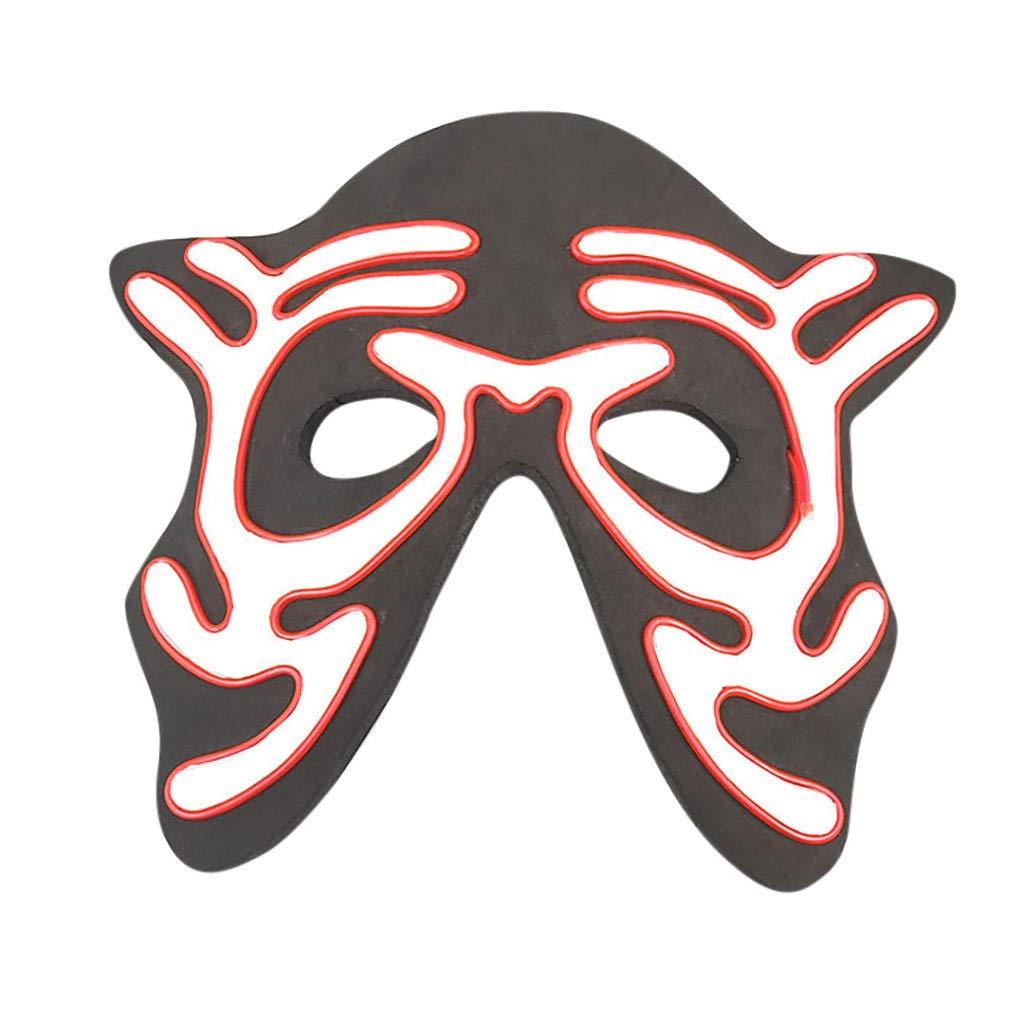 Beihxwe Skull Head LED Masks, Men's Light Up Clown Mask for Festival Cosplay Halloween Costume (C) by Beihxwe