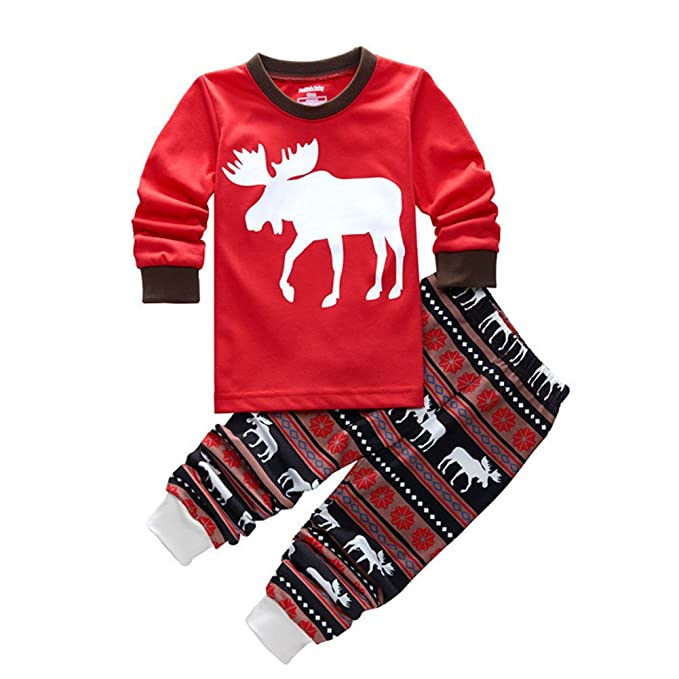 b0a3df03ef Bling Stars Little Boys Girls Kids Toddler Reindeer Christmas Pjs Sleepwear  Cotton Pajamas Sets