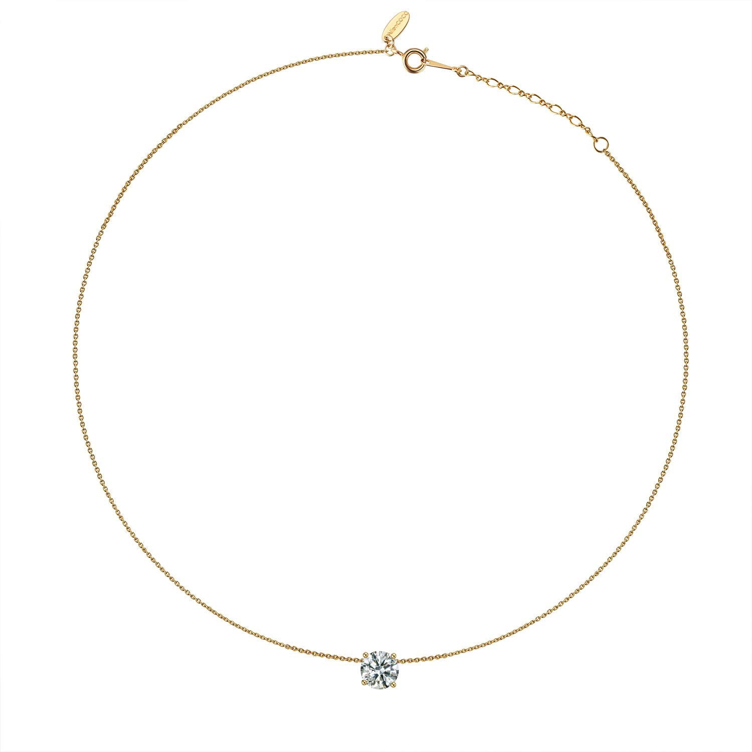 Kainier Choker Pendant Necklace 14K Gold Plated Chian Cubic Zirconia Diamond Crystal Pendant for Women (Gold) by Kainier (Image #2)