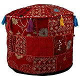 Indian Embroidered Red Patchwork Ottoman Cover,Traditional Indian Decorative Pouf Ottoman,Indian Comfortable Floor Cotton Ottoman Pouf, Living Room Pouf Ottomans Round Comfortable Pouf Ottoman