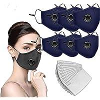 6 pañuelos faciales de algodón con válvula de respiración con 12 filtros de carbón activado reemplazables, neblina, polvo, salud facial para adultos