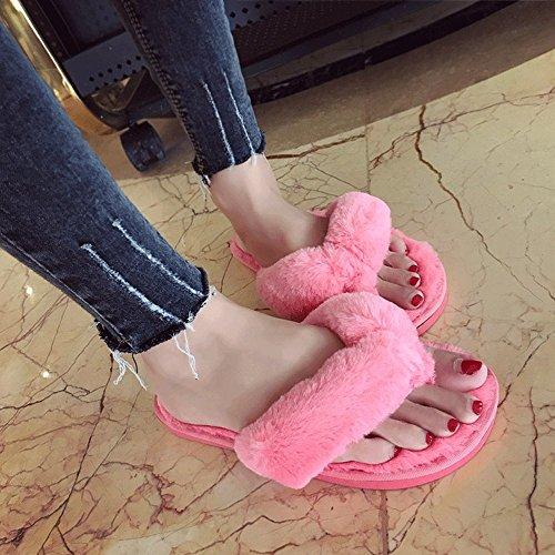 on Pink Nonslip Softness Terrycloth LINGMIN Thong Plush Slip Comfort Indoor Women's Cozy Slipper Fur vPwq6HnIxO