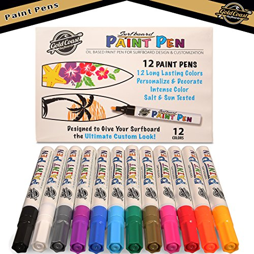 Gold Coast Surfboards - Paint Pens for Surfboard Customization - 12 Premium Oil Based Paint Markers - Bright Vibrant Colors Long Lasting Fast Drying - Great for all types of DIY projects