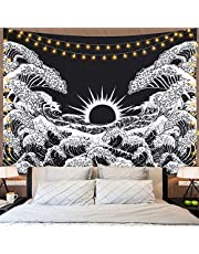 LOMOHOO Wall Tapestry Great Wave Kanagawa Tapestry with Sunset Tapestry Black and White Ocean Tapestry Mandala Wall Hanging for Living Room Bedroom (51ʺ × 59ʺ, Great Wave)
