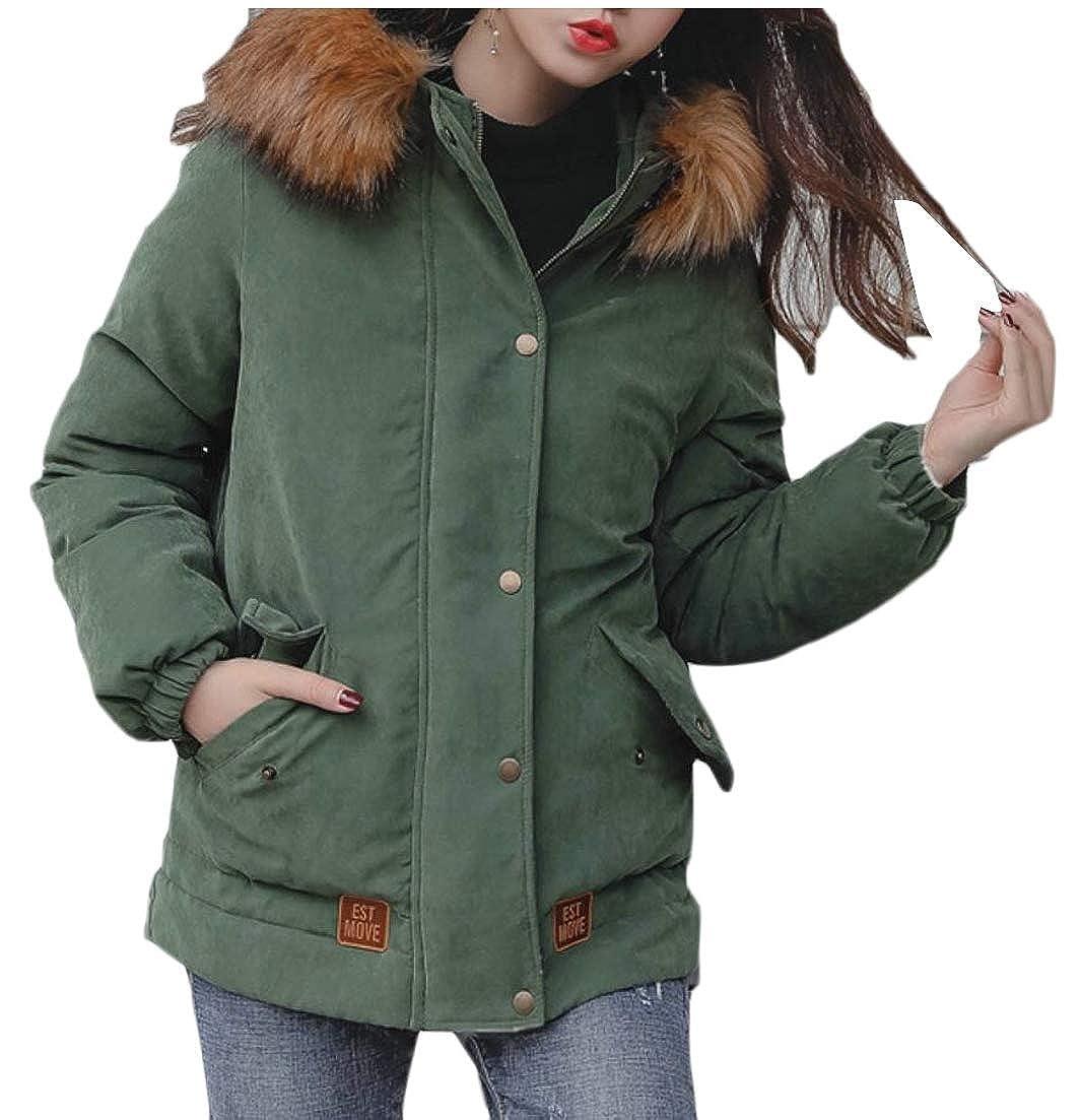 Green Esast Women Faux Fur Hooded Parka Puffer Jacket Overcoat Winter Warm Down Coat