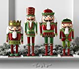 Premium RAZ Imports Christmas Red and Green Wooden Nutcracker Figures 13'' - Set of 4