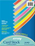 "Pacon Card Stock, Colorful Assortment, 10 Colors,  8-1/2"" x 11"", 100 Sheets"
