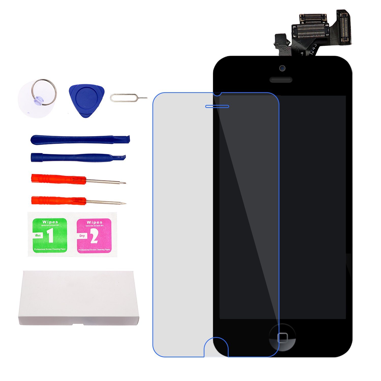 For iPhone 5 Screen Replacement With Home Button, Black- MAFIX Full Pre-assembly LCD Display Digitizer Touch Screen Kit Include Repair Tools & Screen Protector by MAFIX (Image #6)