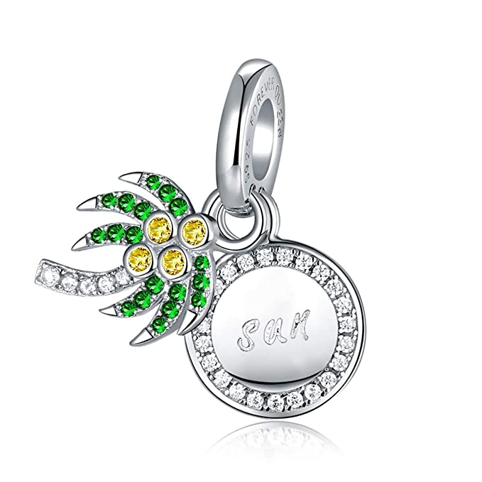 b3521badf Amazon.com: Palm Tree Charm, 925 Sterling Silver Sparkling Coconut Tree  Dangle Charm fit Pandora Bracelet Bangle, Choker, Necklace, Bead Charm for  Mother, ...