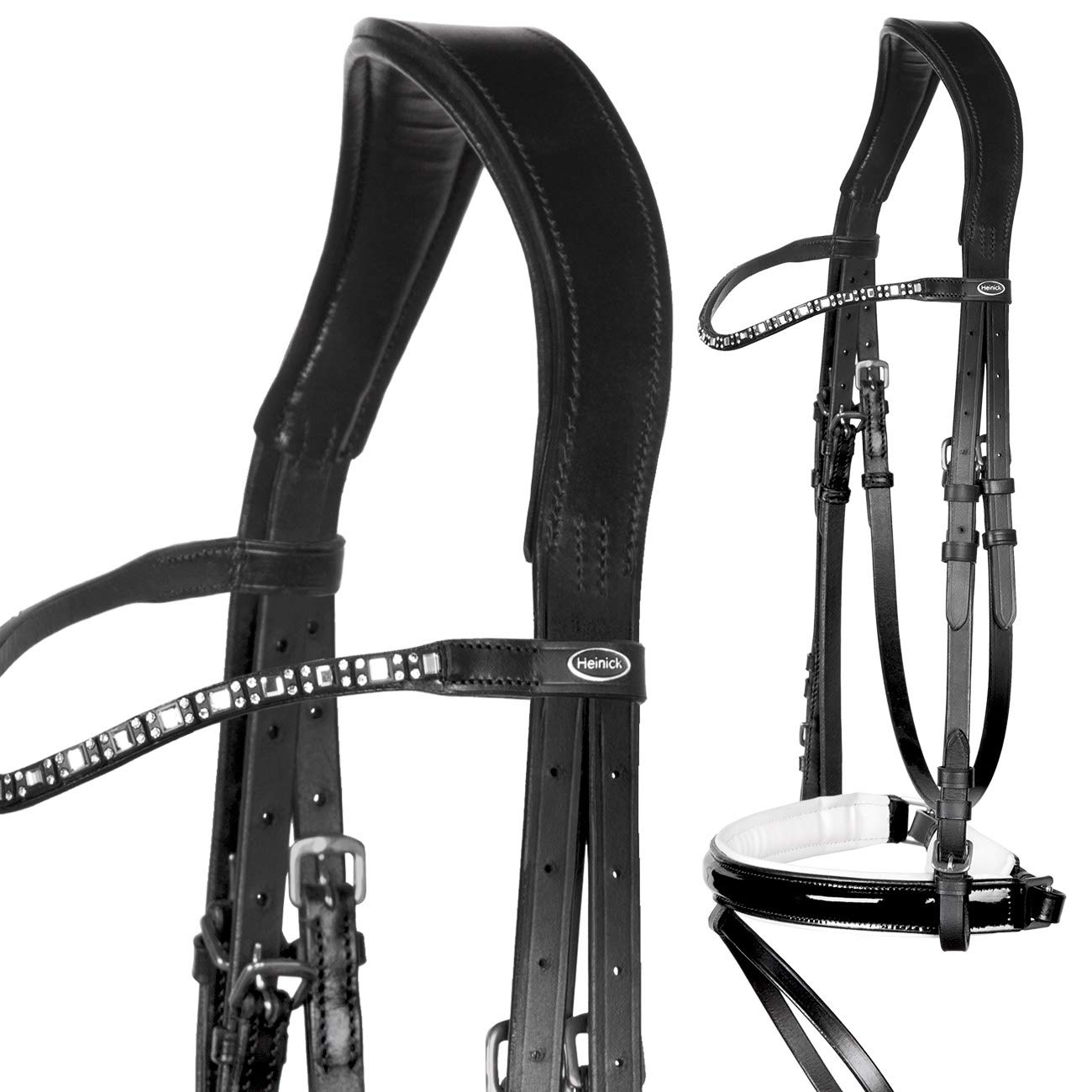 Full-Blooded Heinick Equestrian Fine  Shiny Hamal Patent Leather Bridle Black and White  Bridle