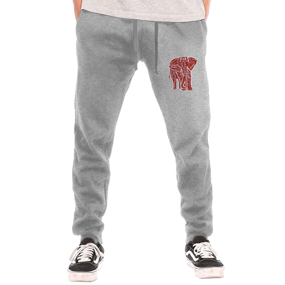 Alabama Red Elephant Drawstring Waist,100/% Cotton,Elastic Waist Cuffed,Jogger Sweatpants Black