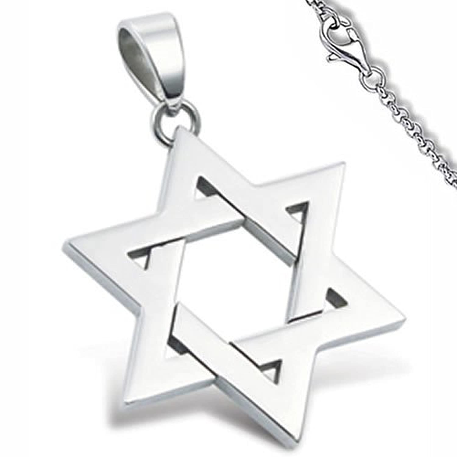 Stainless Steel Star Of David Pendant 22 Stainless Steel Circle Link Necklace is included