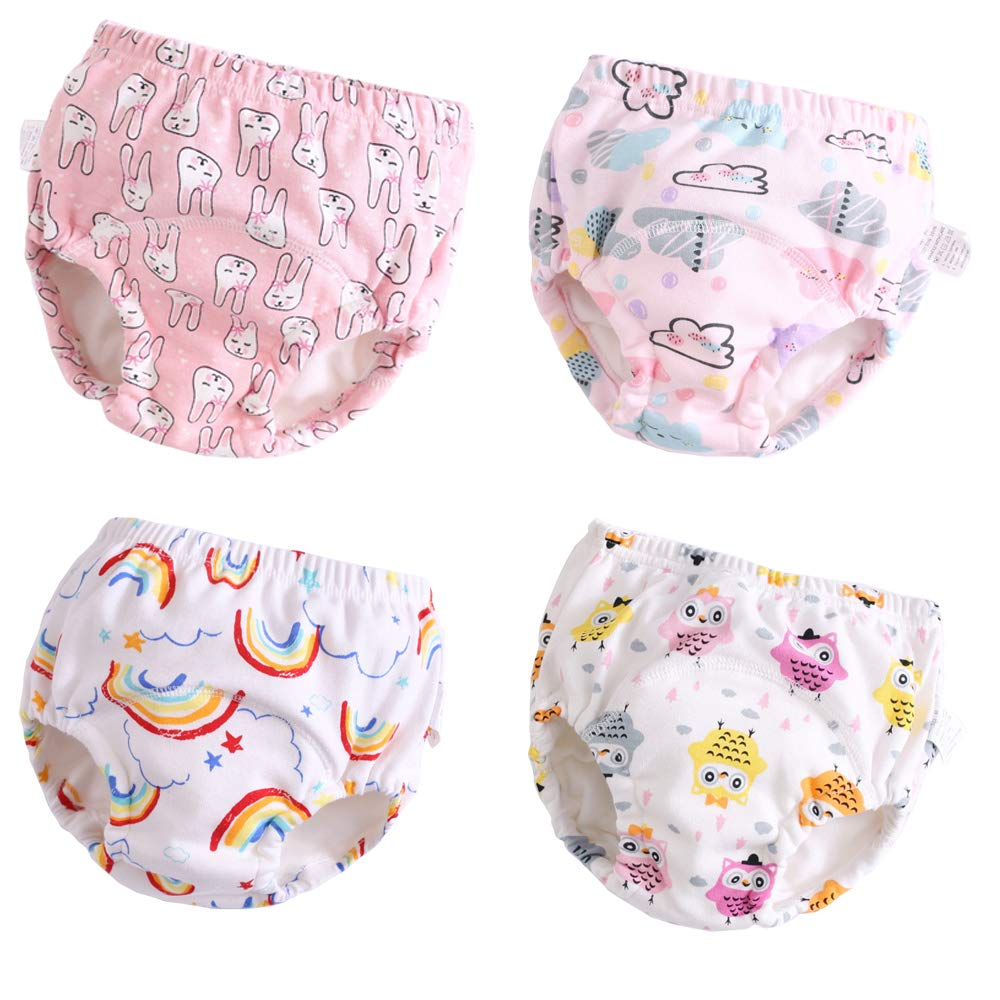 U0U 4 Pack Toddler Potty Training Pants 6 Layered Cotton Training Underwear for Toddlers Girls Boys + Free Wet Bag (Girls, 3T)