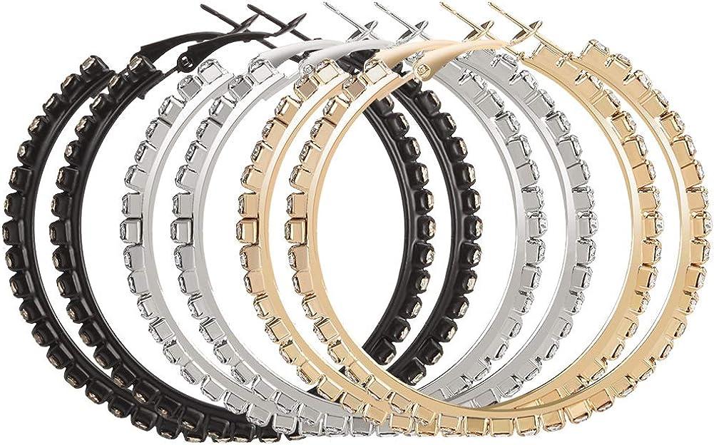 Bolonbi 3 pares de pendientes de aro con diamantes de imitación, pendientes de aro grandes de cristal, brillantes, pendientes de aro para mujeres y niñas