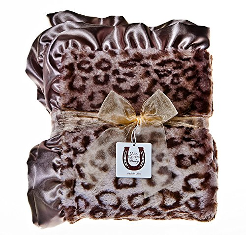 Max Daniel Child Grey Jaguar Throw Blanket - Double Sided - Satin Ruffle (Jaguar Blanket Fur)