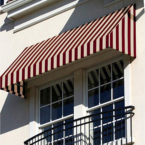 Awntech 4-Feet New Yorker Window/Entry Awning, 24-Inch Height by 36-Inch Diameter, Burgundy/Tan