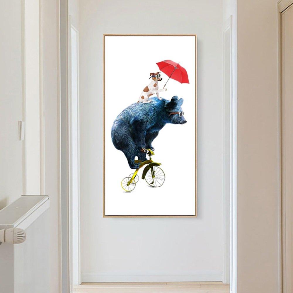 壁画北欧玄関装飾絵画モダンミニマリスト廊下絵画垂直フレーム絵画ホテルリビングルーム (Color : Black, Size : 60*120CM-Bears) B07D6KMDPF 60*120CM-Bears|Black Black 60*120CM-Bears