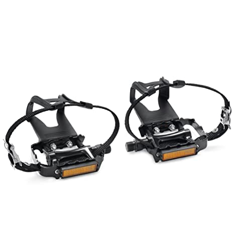 Bike Pedal Clips >> Amazon Com Newsty Bike Pedals With Clips And Straps For Outdoor
