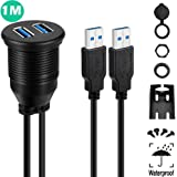 USB 3.0 Mount Cable - Powerbeast Dual USB 3.0 Extension USB Mount,Dash Mount,Flush Mount,Panel Mount Cable for Car Boat Motorcycle and Motorized DVD Receiver (1 Meter 3.3ft)