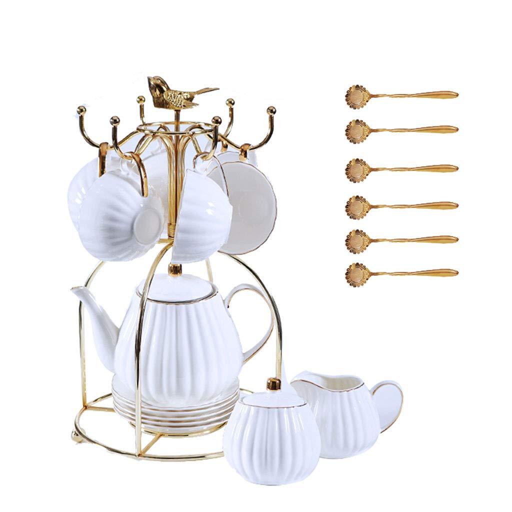 コーヒーカップセット、白いヨーロピアンスタイルのセラミックシンプルなエレガントなフラワーティーカップセット英語アフタヌーンティーティーセット B07QCSFZGT