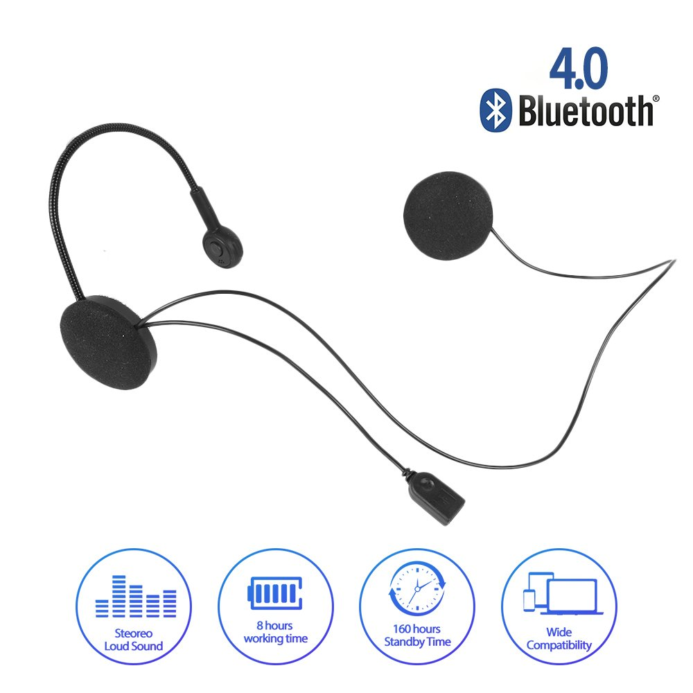 Radioddity Wireless Stereo Motorcycle Bluetooth 4.0 Helmet Headset, Wide Compatibility 8 Hours Working Time Bicycle Helmet Headphones with Hands-Free Speakers, Music Call Control by Radioddity (Image #2)