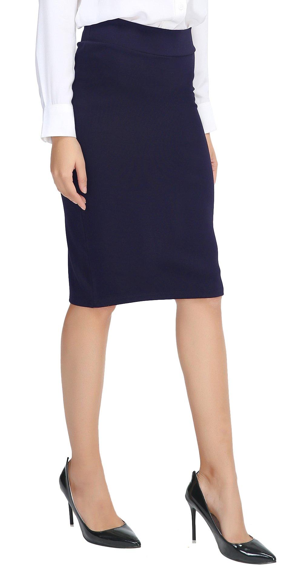 Urban CoCo Women's Elastic Waist Stretch Bodycon Midi Pencil Skirt (L, Navy Blue)