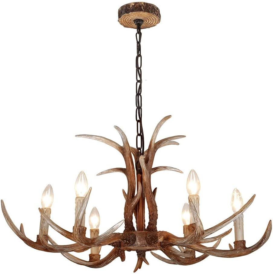 B07D1LJYJ8 SHF Resin Antler Chandeliers Faux Antler Fixture 6 Light 4 Feet Matching Chain(Bulbs Not Included) 61NicN1lriL.SL1080_