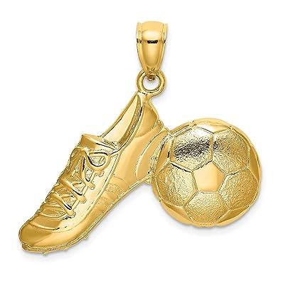 Collar con colgante de balón de fútbol pulido y zapato de oro ...