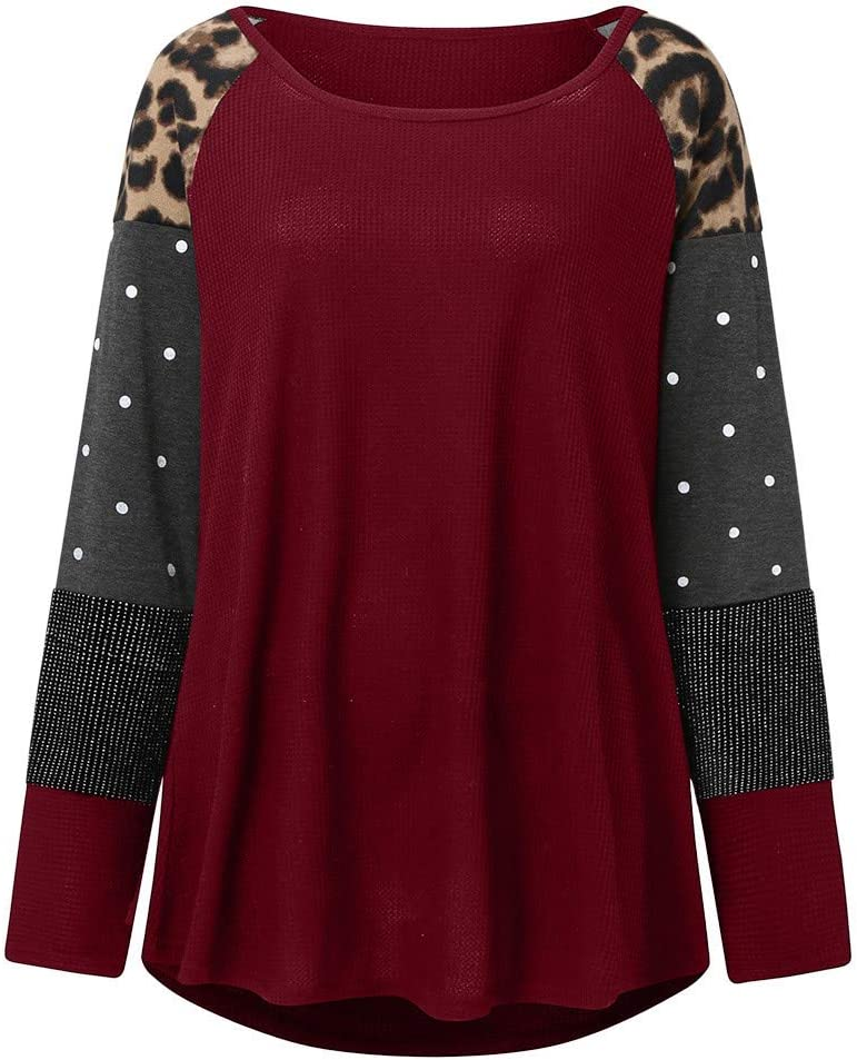 Lataw Women Sweatshirt Casual Stylish Pullover Leopard Printing Plus Size Leisure Long Sleeve Top T Shirt Lightweight Blouse Clothes