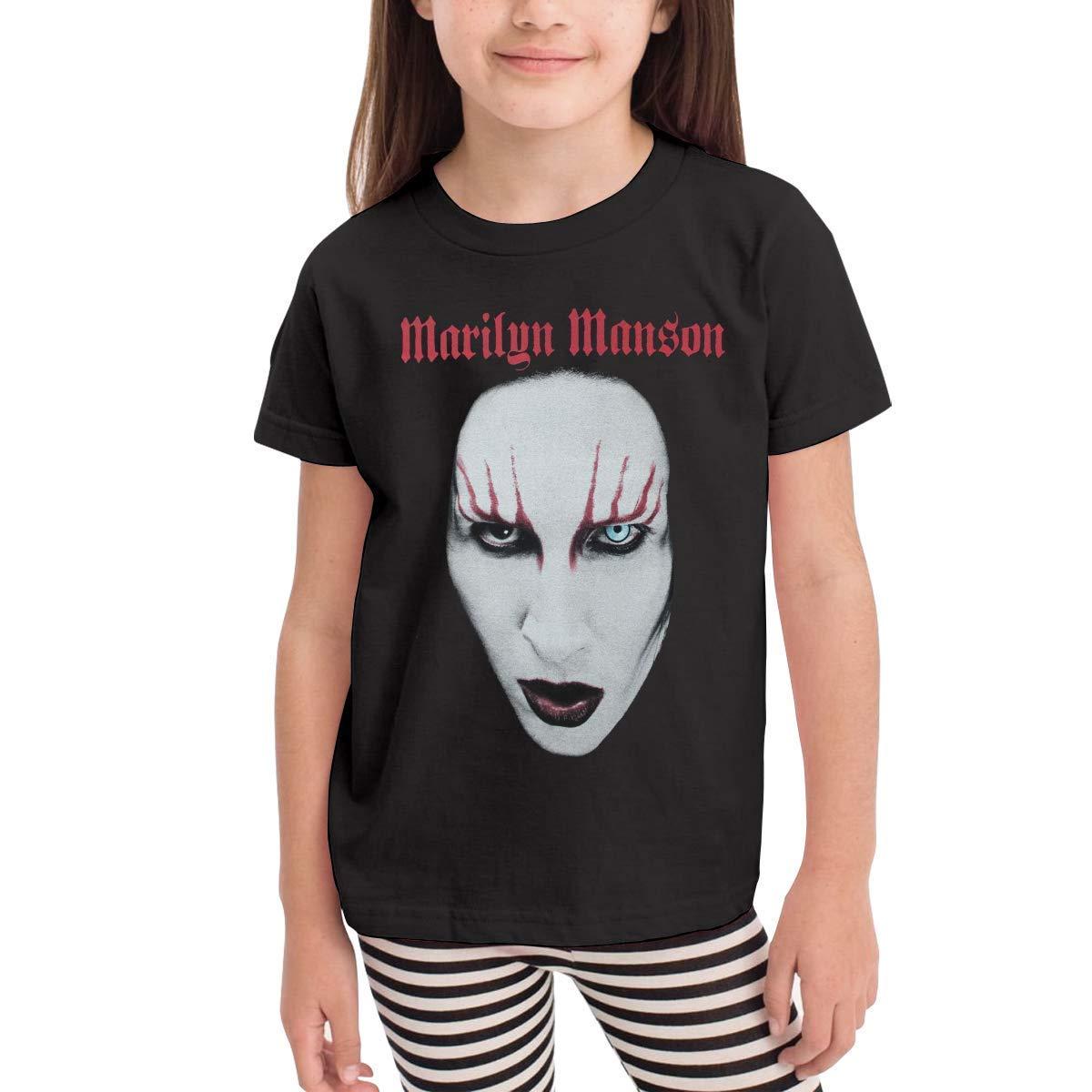 CXHKJ Marilyn Manson Red Lips Childrens Tshirt for Girls /& Boys Black