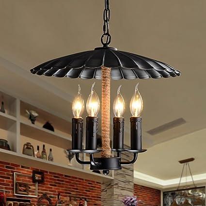 Pumpink Industria Cuatro Cabezas Hierro Cuerda de Cáñamo Luces Colgantes Loft Vintage Edison Candelabro Araña Steam