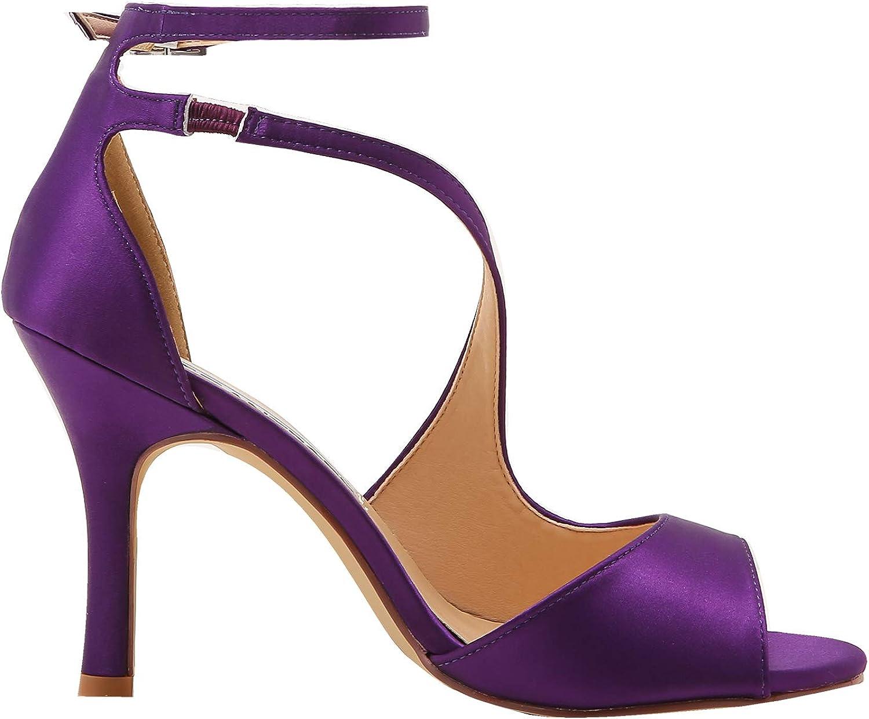 ElegantPark HP1505 Zapatos de tac/ón Punta Abierta Rhinestones Raso Fiesta Zapatos de Novia Mujer