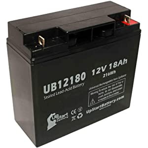 UB12180 Rechargeable SLA Universal Sealed Lead Acid Battery Replacement (12V, 18Ah, 18000mAh, T4 Terminal, AGM, SLA) - Compatible with Sears Craftsman Diehard Portable Power 1150, APC Back-UPS