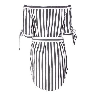 LILYYONG Ladies Off Shoulder Stripe Falbala Women Casual Dress Evening Party Dress (S, Black