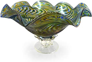 product image for American Hand-Blown Fluted Art Glass Pedestal Bowl in Blue Green Peacock