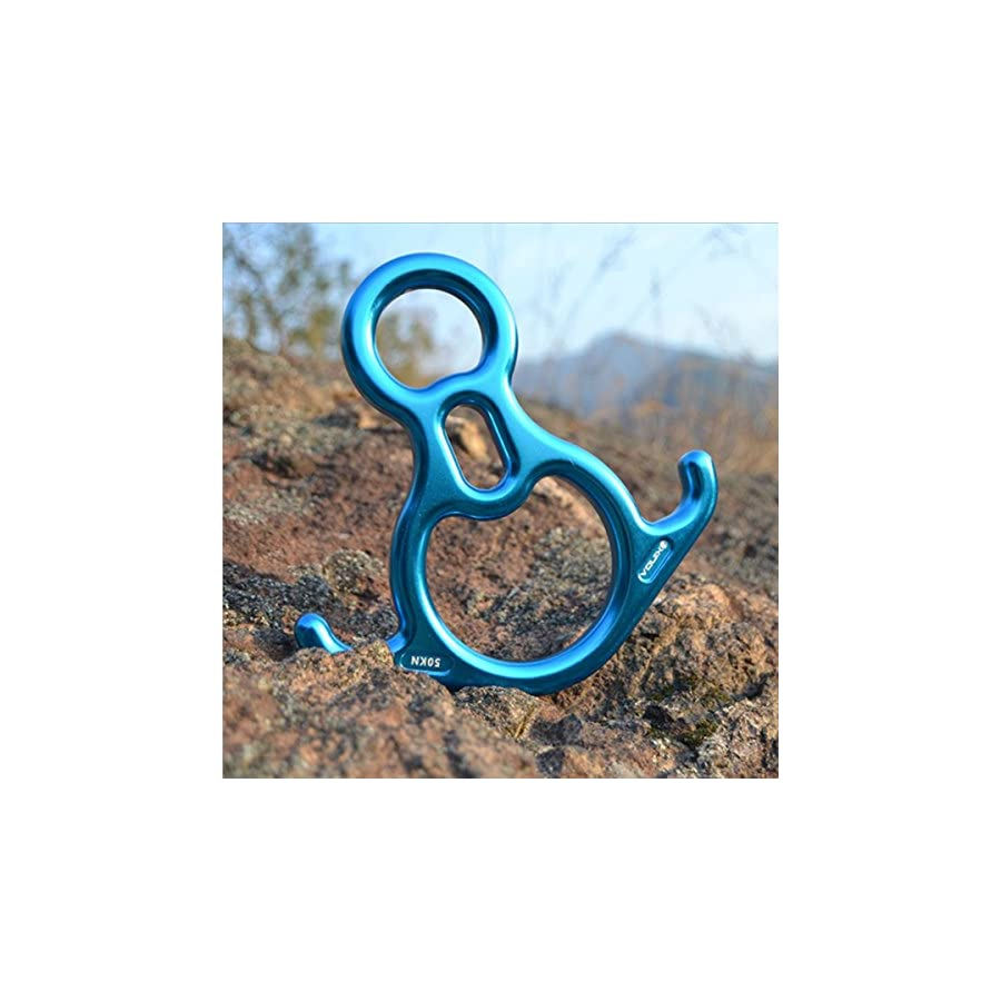 kissloves Terminal 8 Descender Aluminum Alloy 50KN Descender with Lock Off Ears for Rescuing Climbing Escaping Red