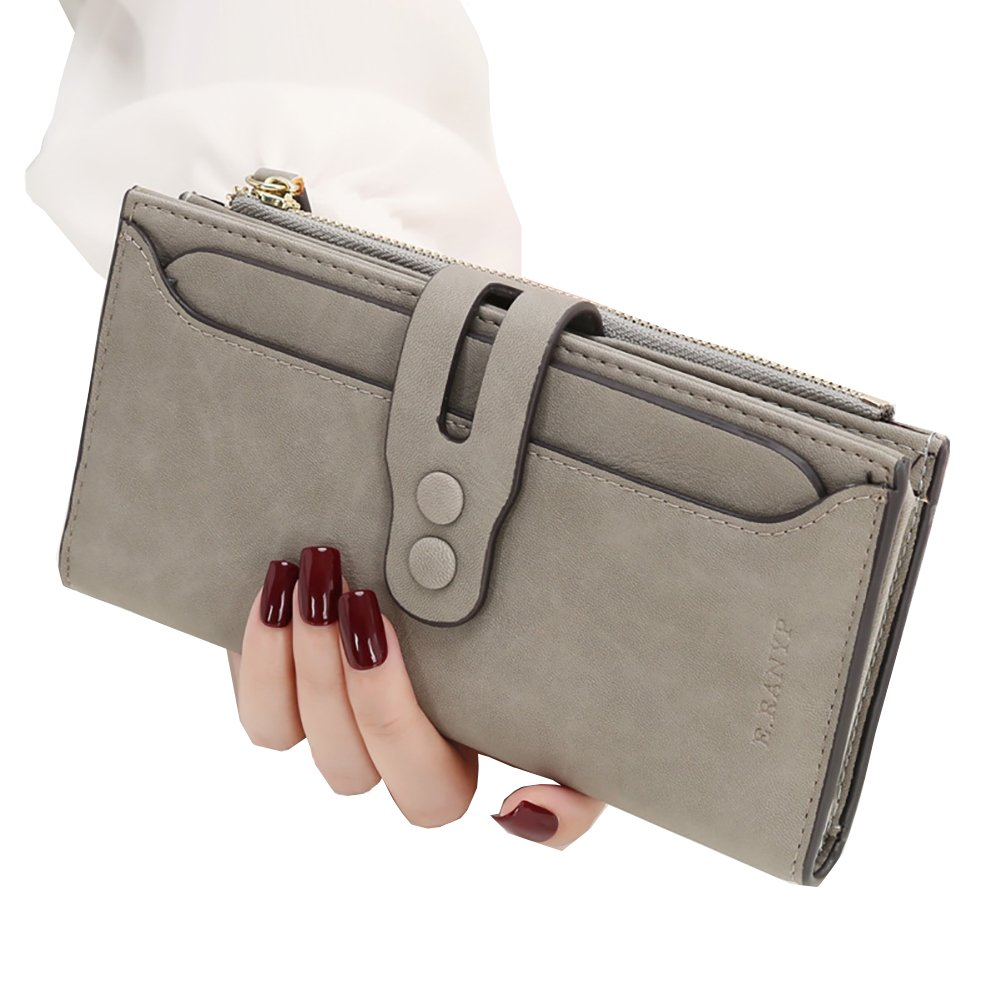 Women RFID Blocking Leather Long Wallet Button Clutch Zipper Coin Pouch Phone Cash Checkbook Organized Travel Purse with Removable Card Holder (Gray)