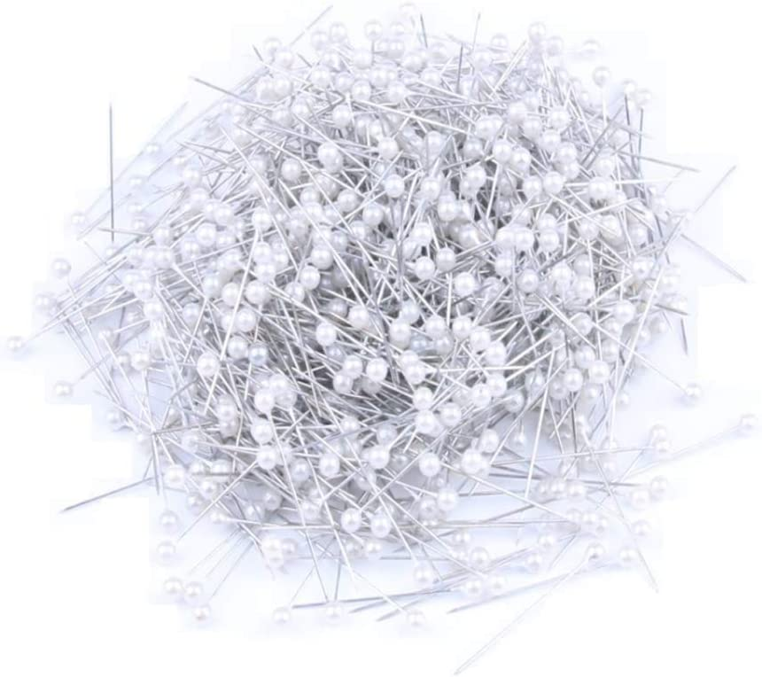 1.5 Inch Round Pearl Head Decorative Straight Head Pins Corsage Florists Sewing Pins Dressmaker Pins DIY Craft Supplies White 1Box 800PCS