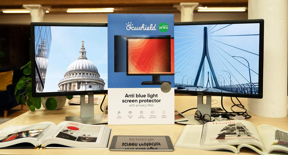 Ocushield Anti Blue Light Screen Protector with Privacy Filter 23 W-B Blue Blocking Computer Monitor Screen Protector for Eyes - Accredited Medical Device Anti-Glare Film 496 x 310