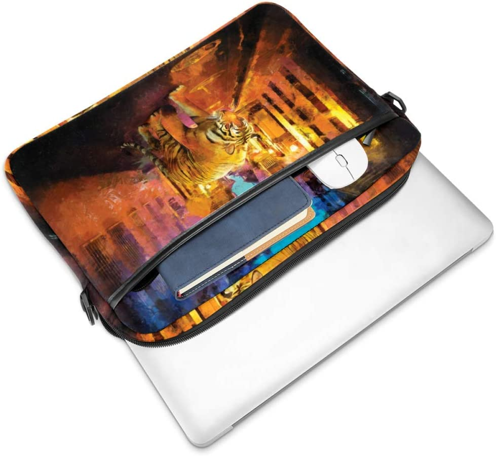 imobaby Laptop Bag Tiger Walking in Night Street Messenger Shoulder Bag Briefcase Notebook Sleeve Carrying Handbag 15-15.4 inches