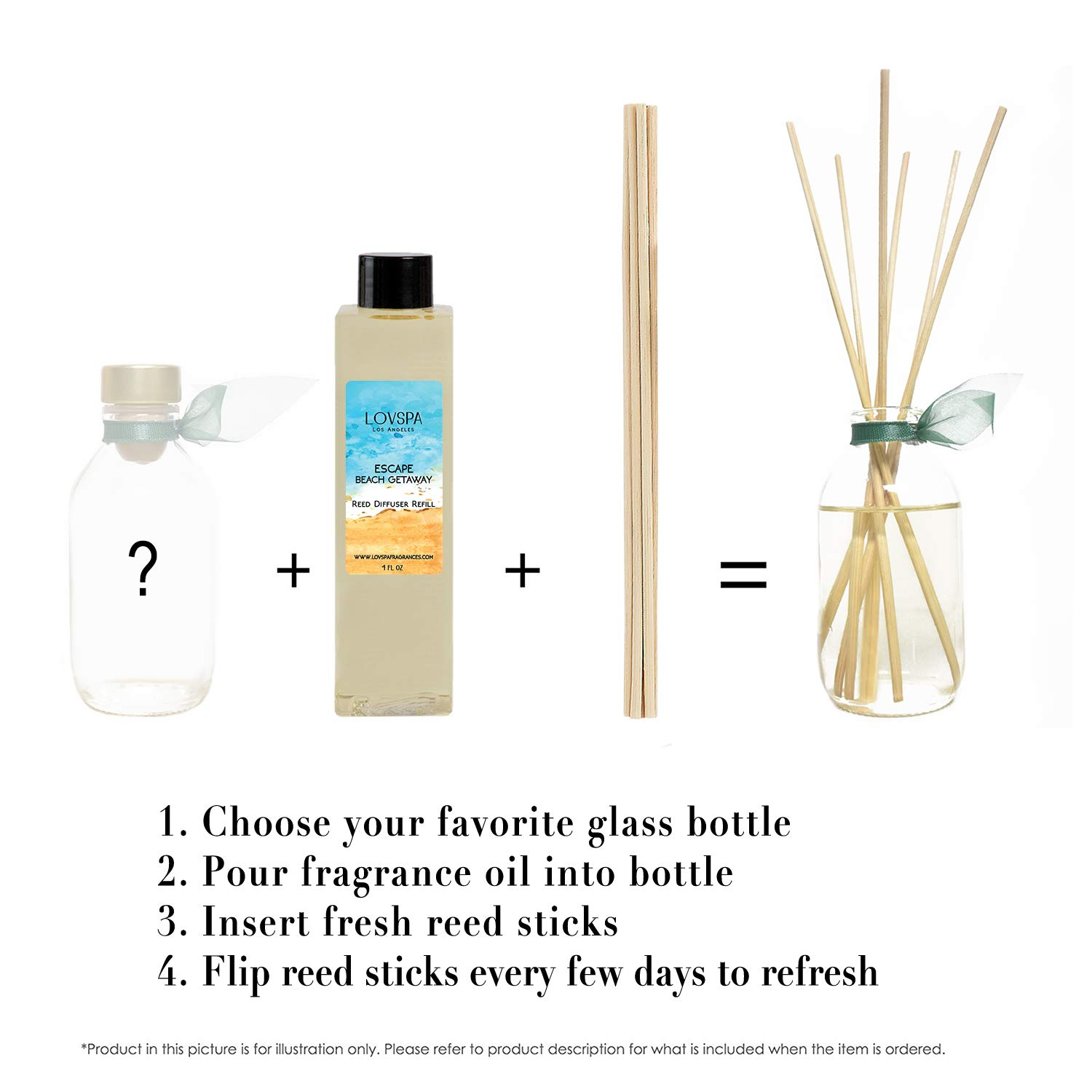 LOVSPA Escape Beach Getaway Reed Diffuser Oil Refill with Replacement Reed Sticks | Citrus Marine Fragrance - Ocean Scented Oil & Reeds | 4 oz | Made in The USA by LOVSPA (Image #2)