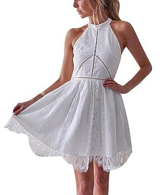 Vestido de Ganchillo para Mujer, con Encaje, Sexy, sin Espalda ...