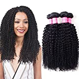 VRVOGUE 100% Unprocessed Brazilian Curly Virgin Hair 4 Bundles Brazilian Kinky Curly Virgin Human Hair Weave Extensions Natural Color 8 -28 Inch (8 10 12 12) For Sale