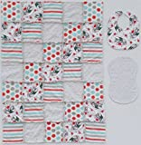 Iconic COCA-COLA print with Coordinating Gray, Red and Aqua Accent Fabrics Baby Rag Quilt with Matching Burp Cloth and Bib