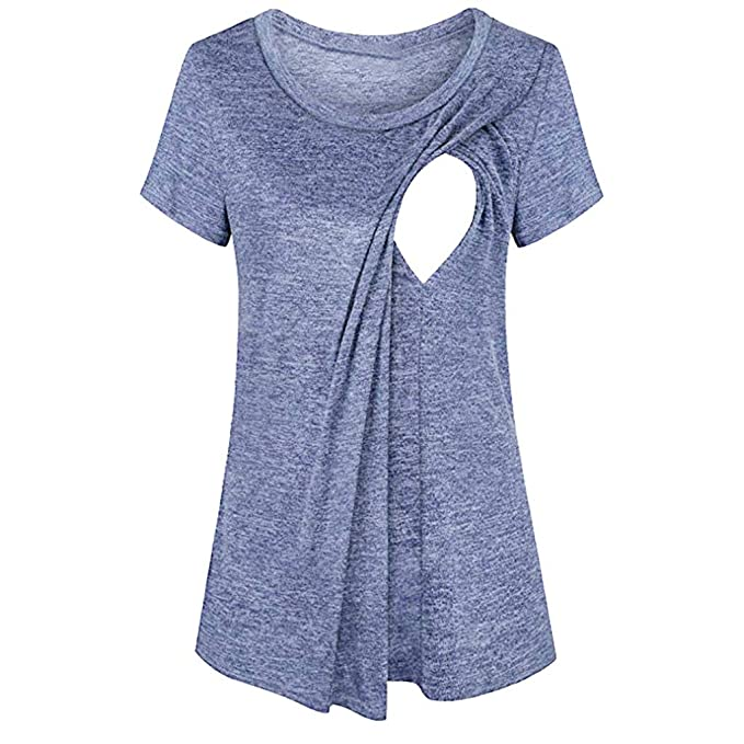 Pitashe Womens Casual Short Sleeve Tops Round Neck Stripe Loose Blouses Basic T-Shirts for Ladies