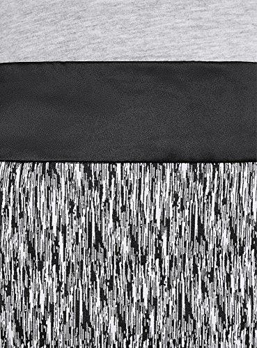 oodji Collection Mujer Falda Estampada con Acabado Decorativo en el Cinturón Negro (2912O)