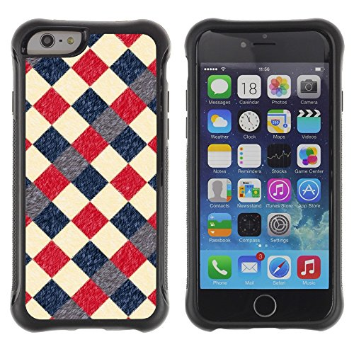 iArmor Hybrid Anti-Shock Defend Case / Vintage Retro Red Checkered Diner Pattern / Apple iPhone 6