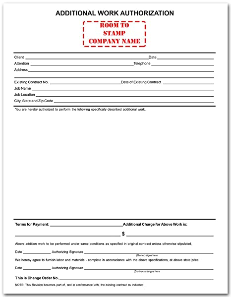 AmazonCom  Additional Work Authorization Form  Blank Purchase