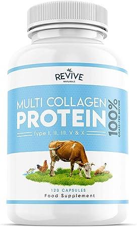 Proteína Hidrolizada de Colágeno Múltiple (120 Cápsulas) - Tipos I, II, III, V y X - de Bovinos Alimentados con Pasto, Peces Silvestres, Caldo de ...